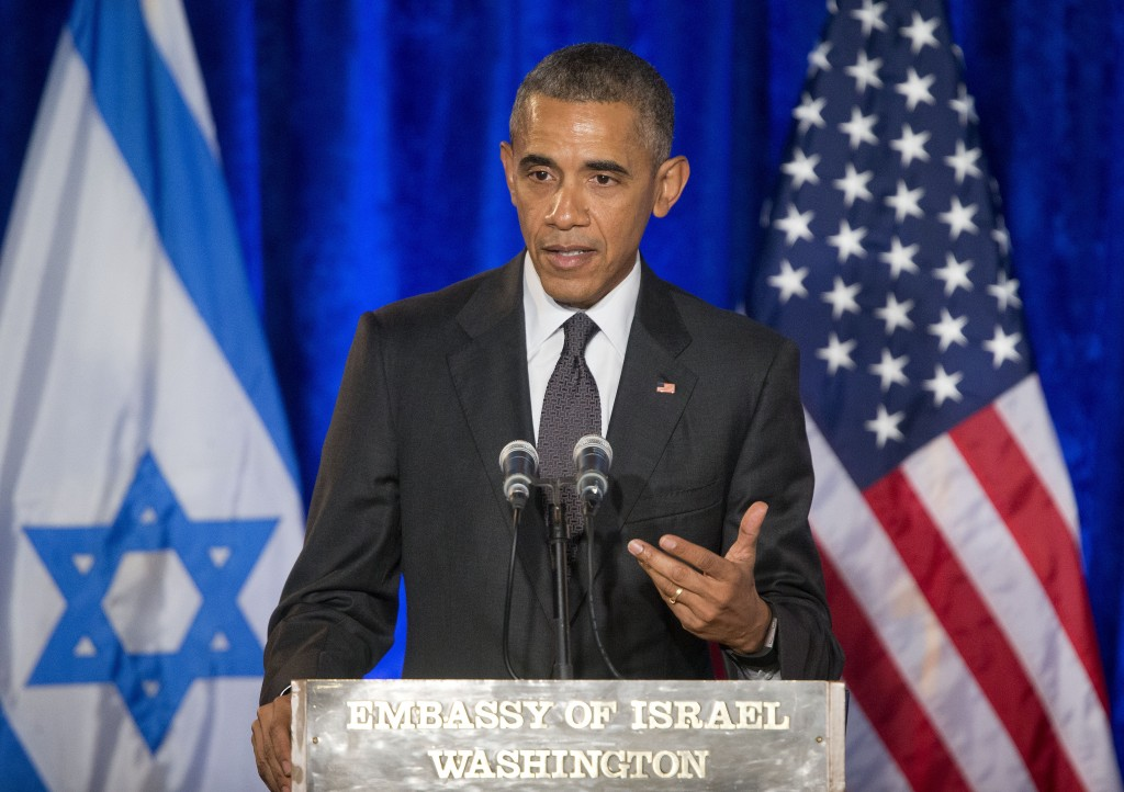 President Barack Obama speaks at the Righteous Among the Nations Award Ceremony at the Israeli Embassy in Washington on Wednesday. Obama spoke as four people were being honored posthumously for risking their lives to protect Jews during the Holocaust. (AP Photo/Pablo Martinez Monsivais)