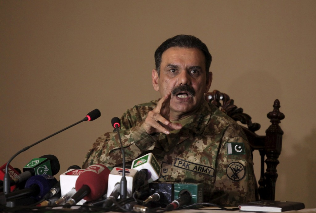 Pakistan army spokesman General Asim Bajwa speaks to the media regarding the Bacha Khan University attack in Peshawar, Pakistan January 23, 2016. REUTERS/Fayaz Aziz