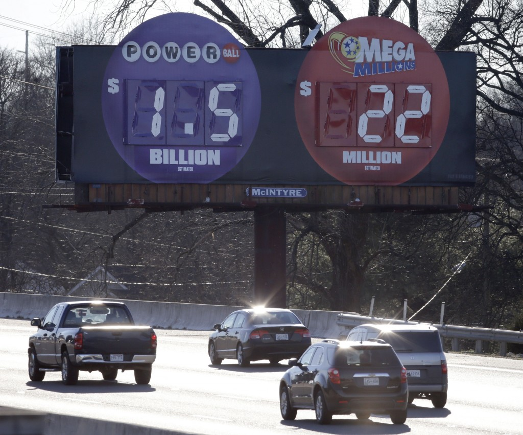 A lotto billboard in Nashville, Tenn., displays the amount of Wednesday night's Powerball lotto jackpot, the largest in history. (AP Photo/Mark Humphrey)