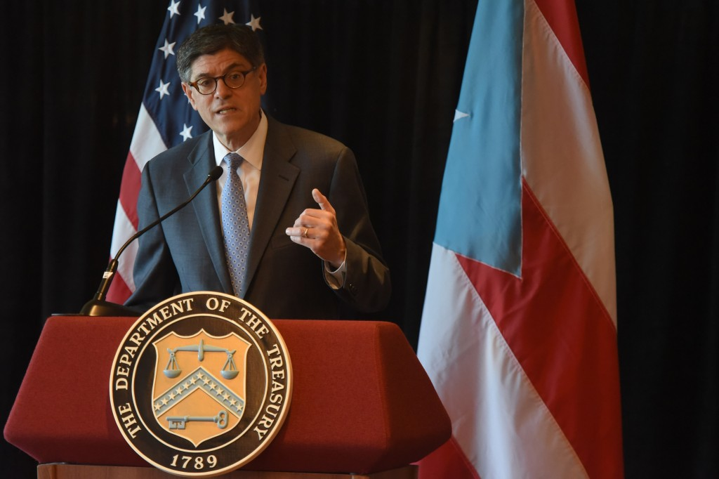 U.S. Treasury Secretary Jacob Lew speaks during a press conference at the Vanderbilt hotel in San Juan, Puerto Rico, on Wednesday. (AP Photo/Carlos Giusti)