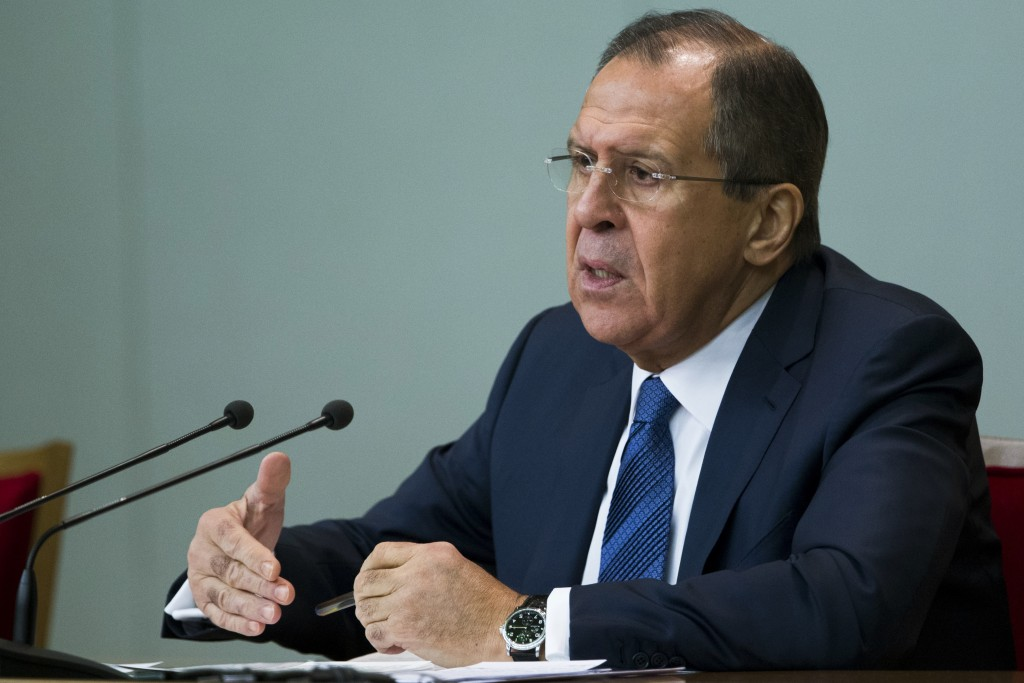 "Russian Foreign Minister Sergey Lavrov speaks during his annual news conference in Moscow, Russia Tuesday, Jan. 26, 2016. Russia on Tuesday argued strongly against Turkey's demand to keep a leading Kurdish group out of Syria's peace talks, and said it expects the U.N. envoy to resist what he called ""blackmail"" by Turkey and others, reflecting sharp differences that remain ahead of the scheduled talks. (AP Photo/Ivan Sekretarev)"