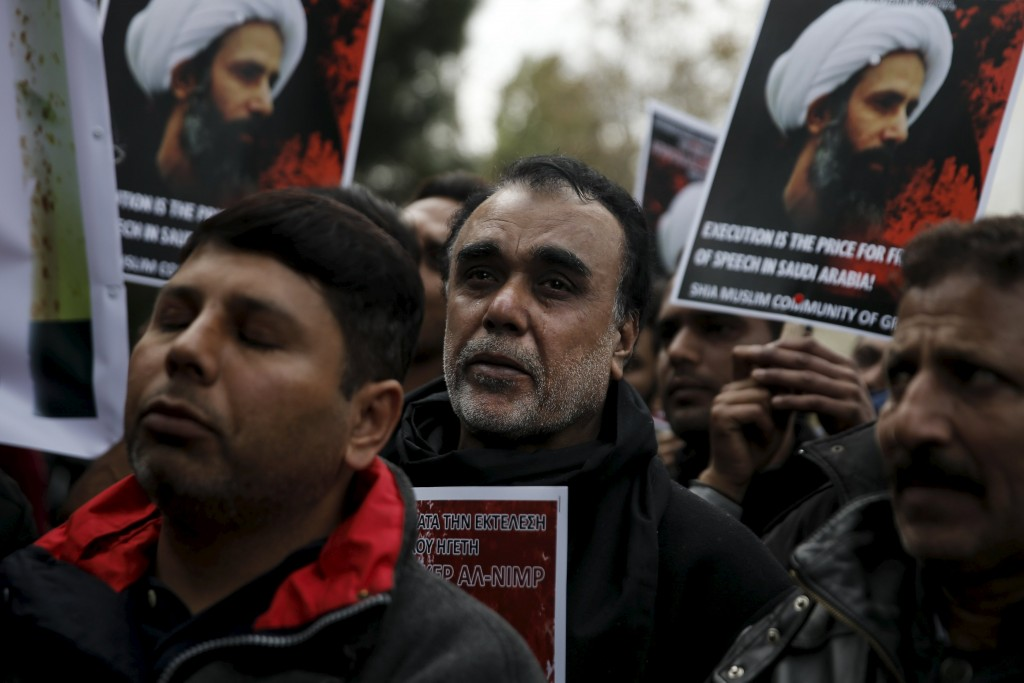 A Shi'ite Muslim cries during a demonstration against the execution of Shi'ite cleric Sheikh Nimr al-Nimr in Saudi Arabia, outside the embassy of Saudi Arabia in Athens, Greece, January 6, 2016. REUTERS/Alkis Konstantinidis