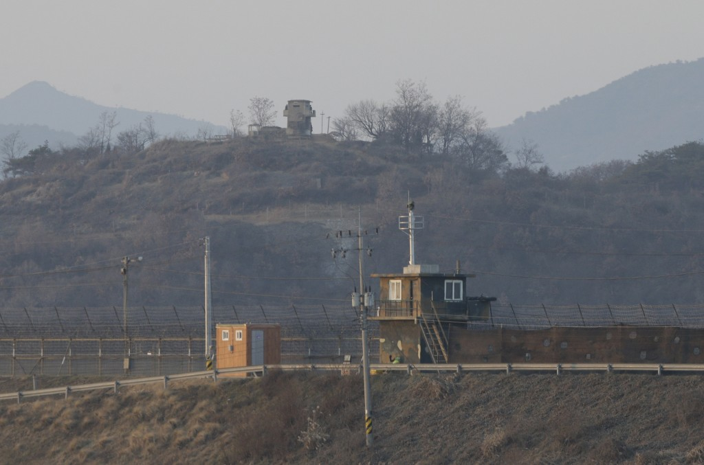 Military guard posts of North Korea, background, and South Korea, foreground, are seen in Paju, South Korea, on Friday. (AP Photo/Ahn Young-joon)