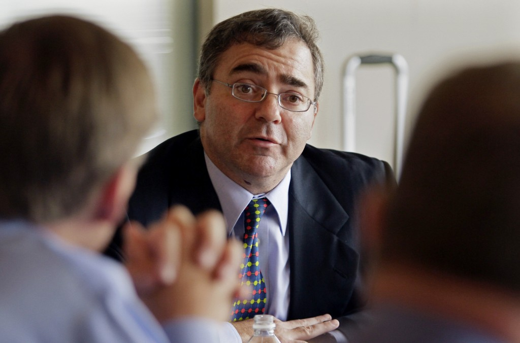 In this June 30, 2011 photo, then-Spirit Airlines CEO Ben Baldanza speaks during an interview in New York. (AP Photo/Bebeto Matthews, File)