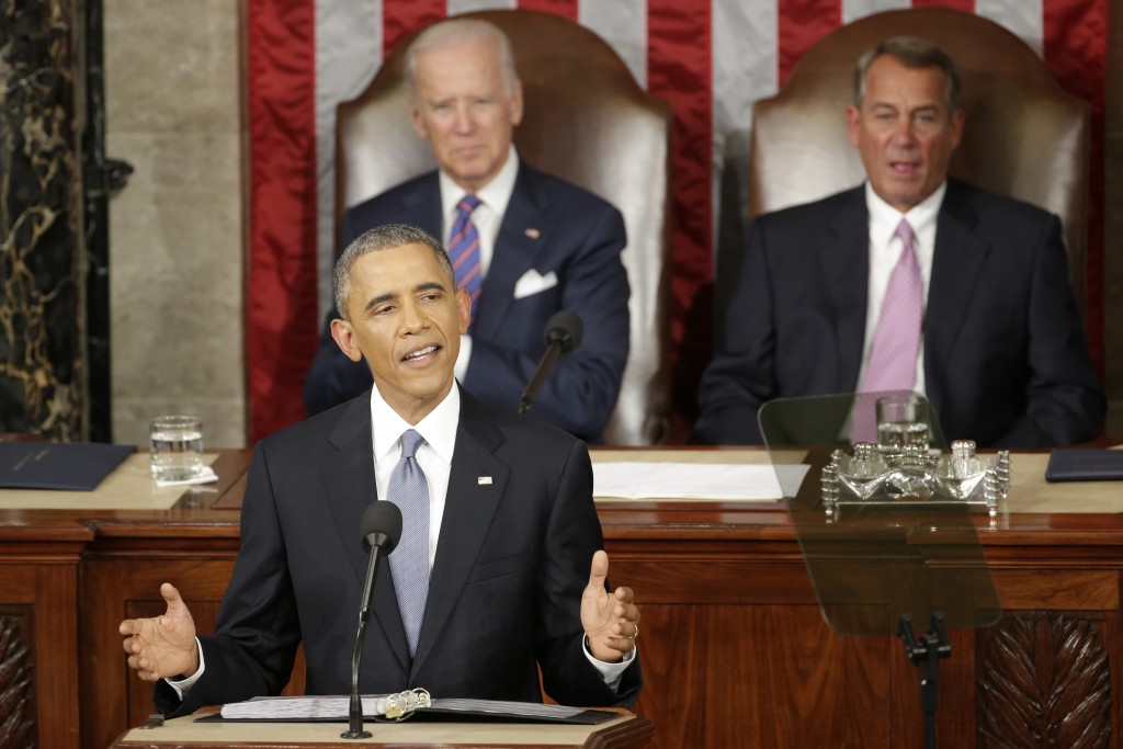 FILE - In this Jan. 20, 2015 file photo, President Barack Obama gives his State of the Union address before a joint session of Congress on Capitol Hill in Washington. (AP Photo/J. Scott Applewhite)
