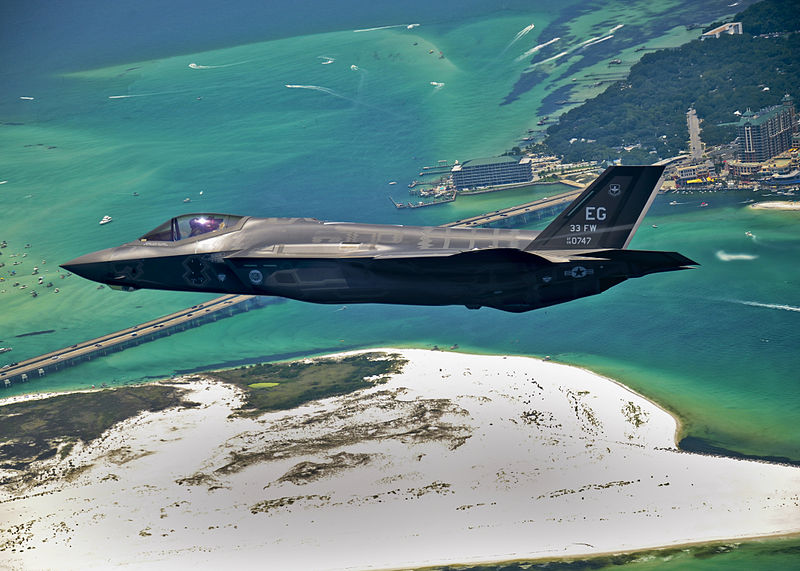 The first USAF F-35 on its delivery flight to Eglin Air Force Base in July 2011.