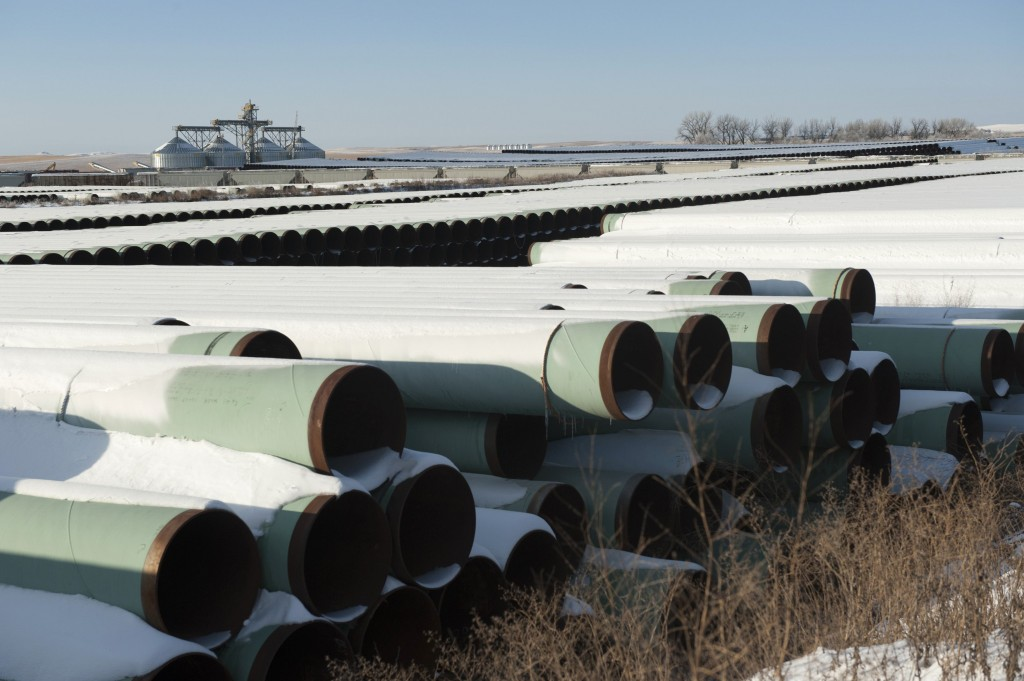 A depot used to store pipes for Transcanada Corp's planned Keystone XL oil pipeline is seen in Gascoyne, North Dakota in this November 14, 2014 file photo. TransCanada Corp sued the U.S. government in the U.S. federal court January 6, 2016, alleging President Barack Obama's rejection of the Keystone XL pipeline exceeded his power under the U.S. Constitution. REUTERS/Andrew Cullen/Files