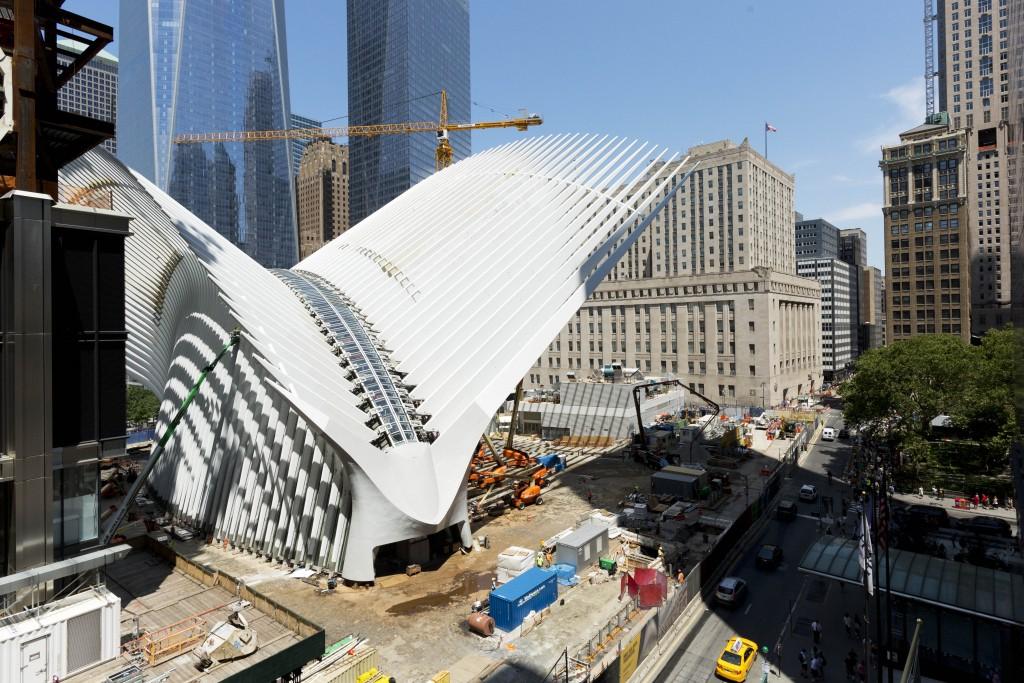 The World Trade Center Transportation Hub under construction. (AP Photo/Mark Lennihan)