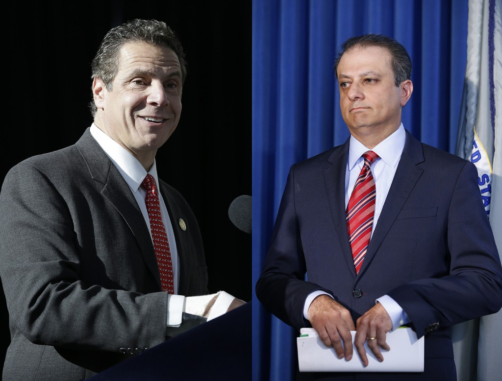 New York Gov. Andrew Cuomo (L) and U.S. Attorney Preet Bharara (AP Photo/Seth Wenig/Kathy Willens)