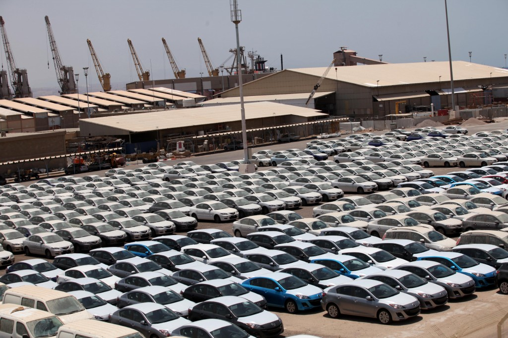Eilat's port is the main entrance for ships carrying loads of brand new cars to be sold in Israel. Photo by Yossi Zamir/Flash90