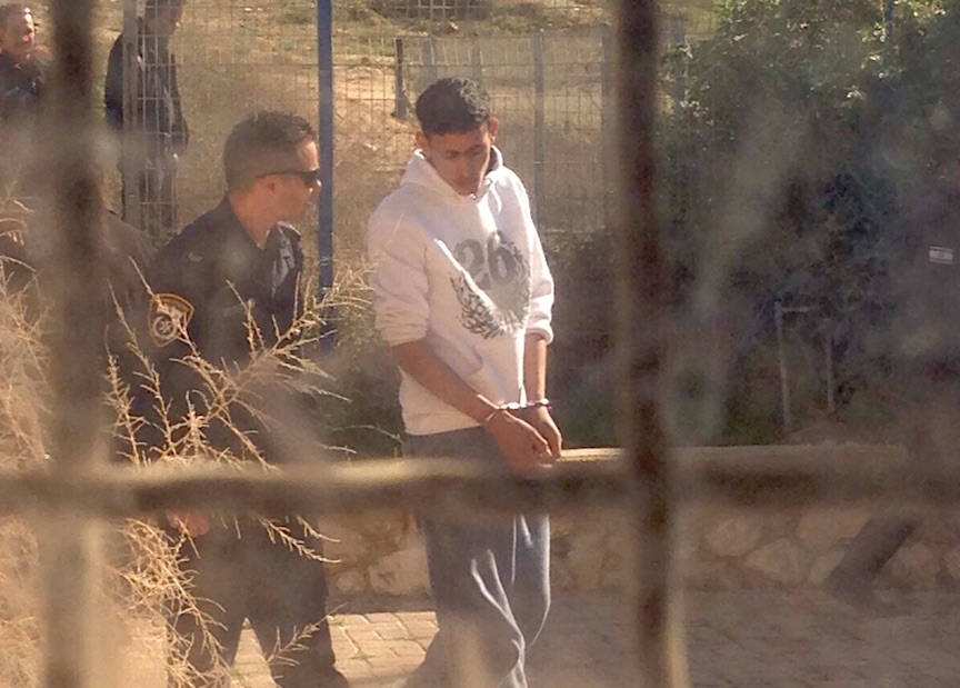 Security officials take into custody a terrorist who attempted to enter a school in Dimona Monday morning