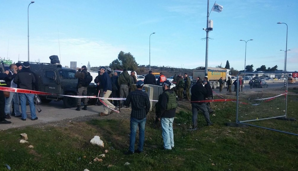 The scene of Tuesday's stabbing at the Gush Etzion junction (Gush Etzion Regional Council)