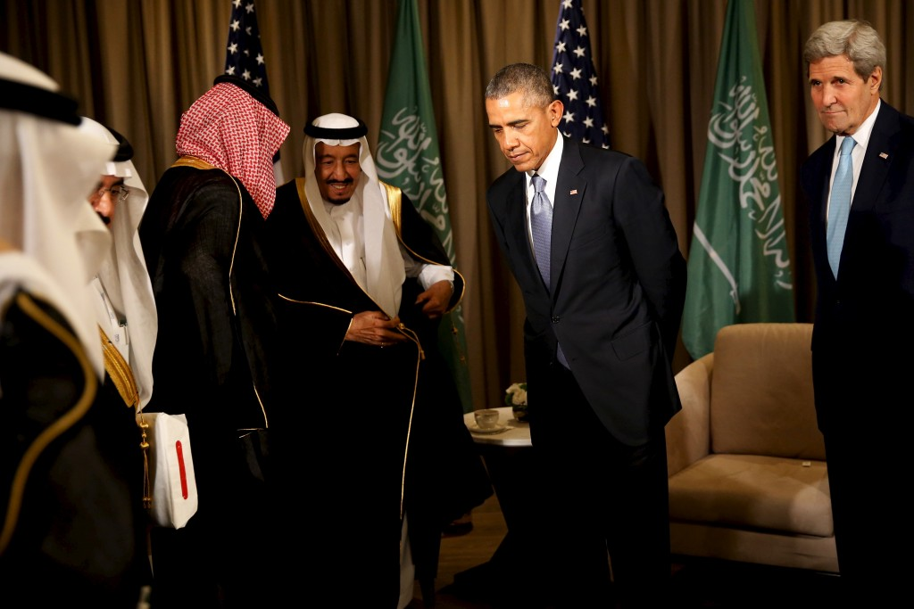 U.S. President Barack Obama (2nd R) concludes a meeting with Saudi Arabia's King Salman (3rd L) at the G20 summit at the Regnum Carya Resort in Antalya, Turkey, November 15, 2015. REUTERS/Jonathan Ernst (Newscom TagID: rtrlseven455613.jpg) [Photo via Newscom]