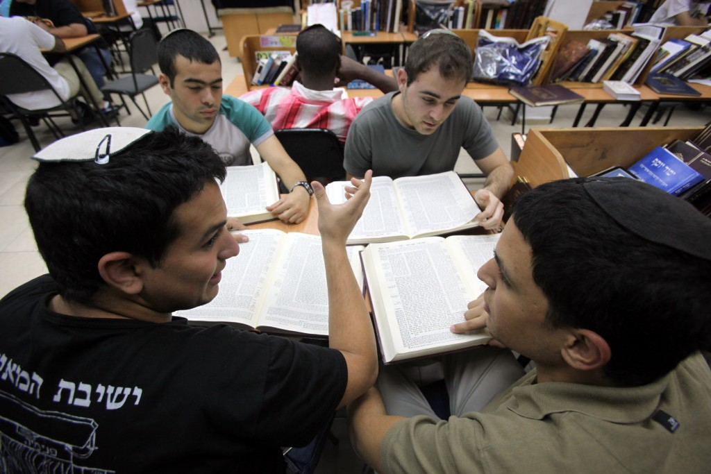 High school students learn in a yeshiva in Kiryat Moshe. Photo by Yossi Zamir/Flash90