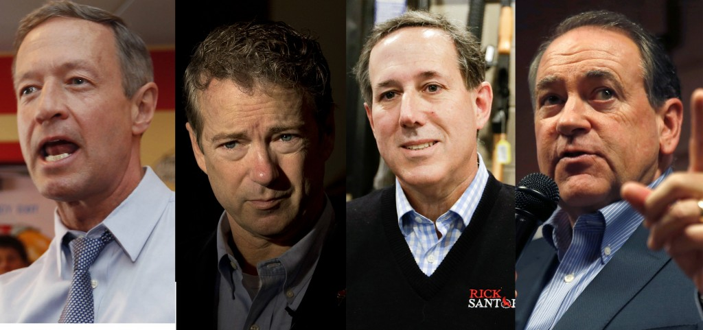 This composite photo shows, left to right, Martin O'Malley, Rand Paul, Rick Santorum and Mike Huckabee. (AP Photo/Jim Cole/Jae C. Hong/Chris Carlson/Kiichiro Sato)