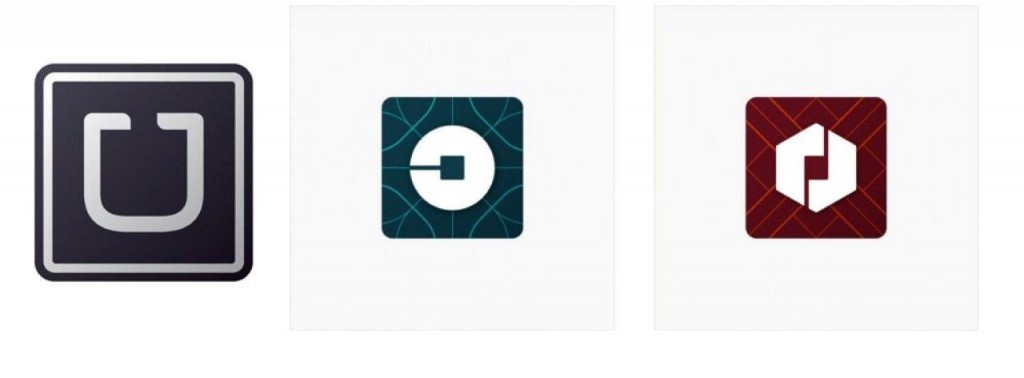 """Uber has ditched the old app logo of a stylized """"U"""" in favor of the """"atom and bit"""" design, with the green logo being what riders will see and the red logo reserved for Uber drivers. (Illustration using Uber images)"""