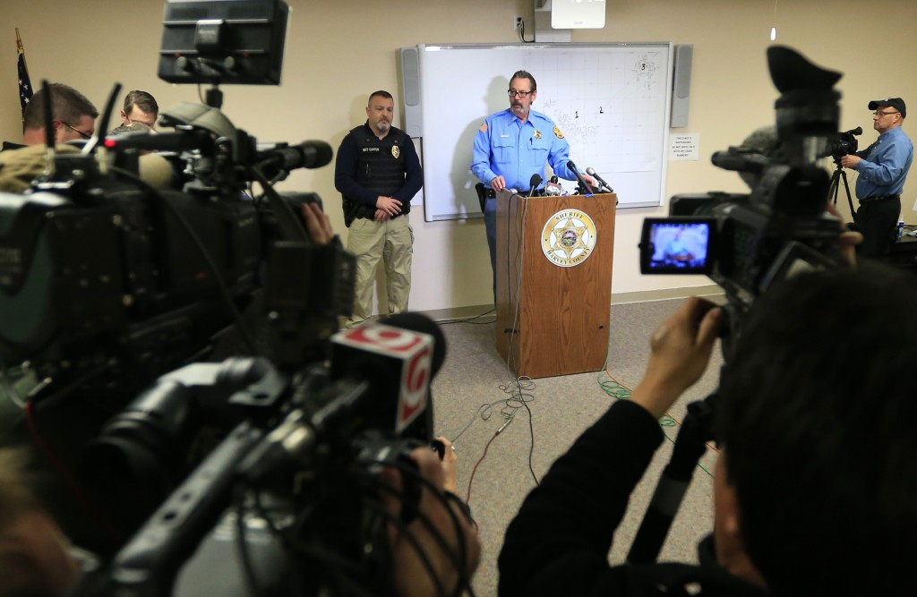 Harvey County Sheriff T. Walton speaks at a Friday news conference at the Law Enforcement Center in Newton, Kan. (AP Photo/Orlin Wagner)