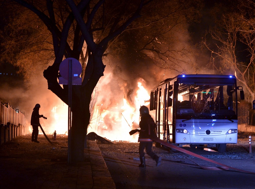 Firefighters prepare to extinguish fire after an explosion in Ankara, Turkey (Ihlas News Agency/Reuters)