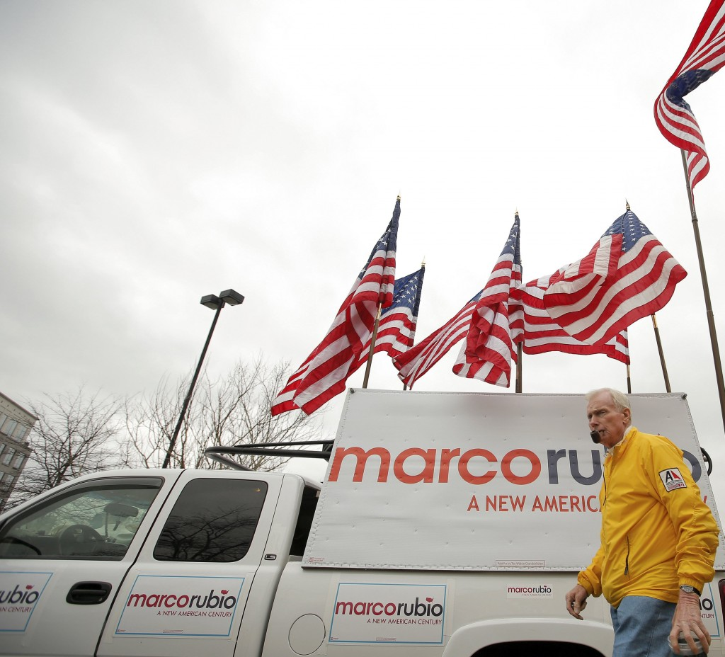 Jim Wilson a supporter of U.S. Republican presidential candidate Marco Rubio walks past his truck before a campaign event in Franklin, Tennessee, February 21, 2016. (Chris Keane/Reuters)