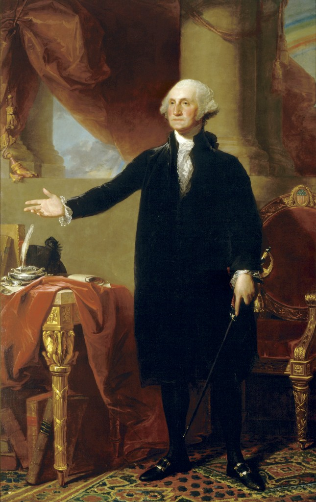 George Washington (Lansdowne Portrait) by Gilbert Stuart, oil on canvas, 1796. (National Portrait Gallery)