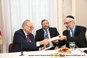 Rabbi Chaim Dovid Zwiebel presenting Senator Charles Schumer (D-NY) with a biography of Rabbi Moshe Sherer. (Shmuel and Dov Lenchevsky/Agudath Israel of America)