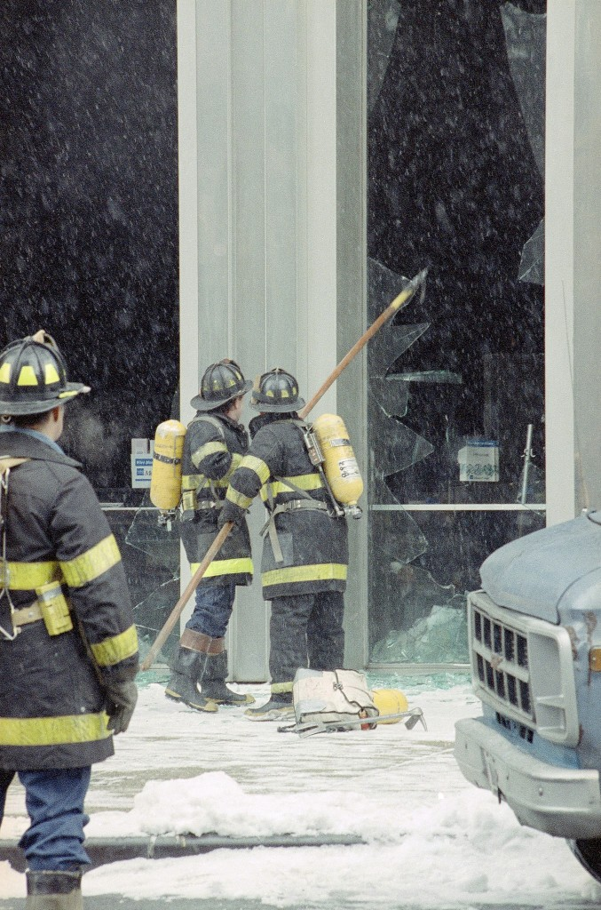 Firefighters at the scene of the Feb. 26, 1993 bombing. (AP Photo/Anders Krusberg)