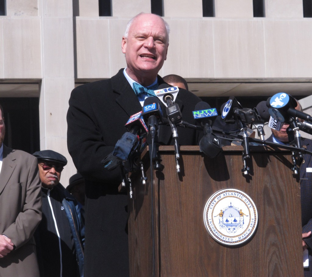 Atlantic City Mayor Don Guardian on Monday speaks at a news conference in his city. (AP Photo/Wayne Parry)