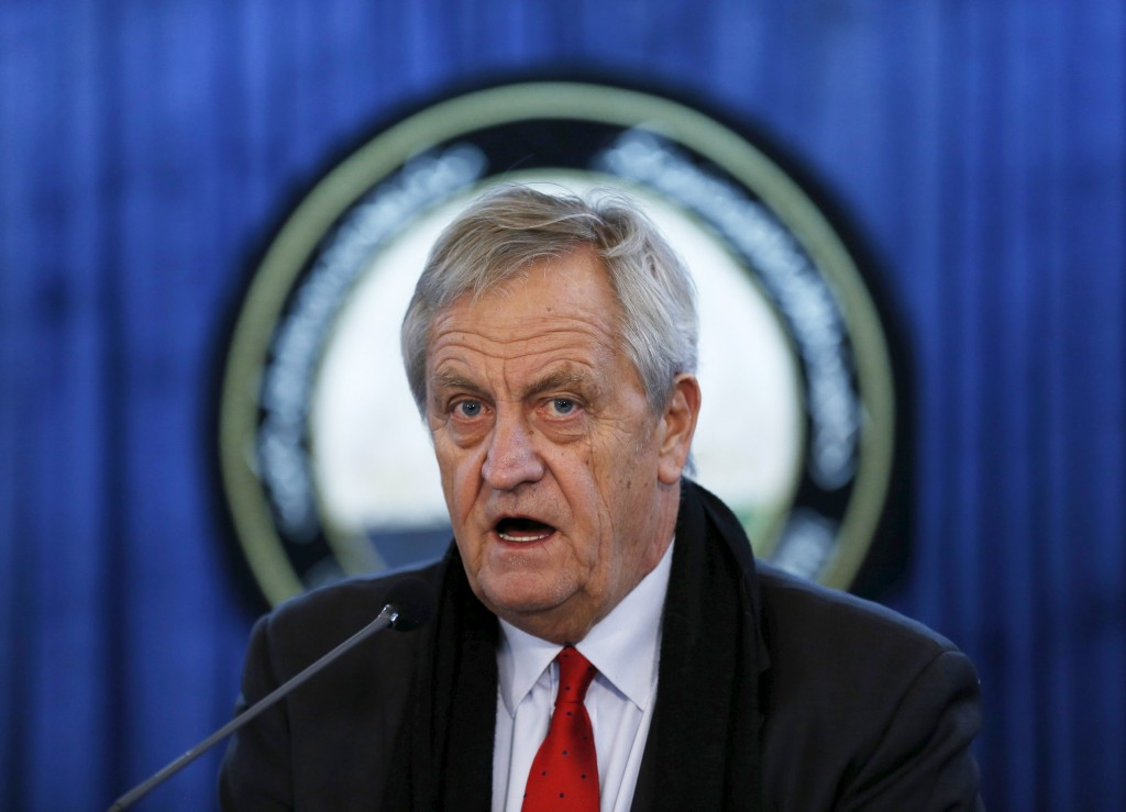 Nicholas Haysom, the head of the U.N. Assistance Mission in Afghanistan, speaks during a news conference in Kabul, Afghanistan February 14, 2016. Civilian casualties of the war in Afghanistan rose to record levels for the seventh year in row in 2015, as violence spread across the country in the wake of the withdrawal of most international troops, the United Nations reported on Sunday. REUTERS/Mohammad Ismail