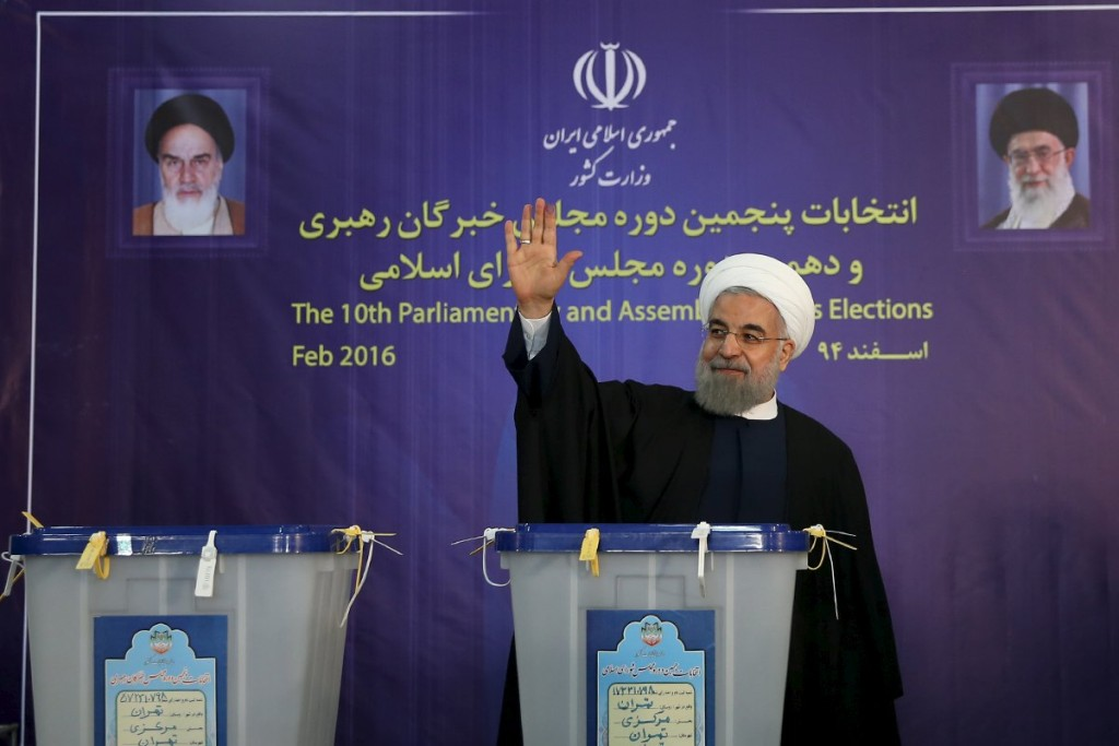 Iranian President Hassan Rouhani waves after casting his vote during elections for the parliament and Assembly of Experts, which has the power to appoint and dismiss the supreme leader, in Tehran in this February 26, 2016 file photo. Rouhani won an emphatic vote of confidence and reformist partners secured surprise gains in parliament in early results from elections that could accelerate the Islamic Republic's emergence from years of isolation. REUTERS/President.ir/Handout via ReutersATTENTION EDITORS - THIS IMAGE WAS PROVIDED BY A THIRD PARTY. REUTERS IS UNABLE TO INDEPENDENTLY VERIFY THE AUTHENTICITY, CONTENT, LOCATION OR DATE OF THIS IMAGE. IT IS DISTRIBUTED EXACTLY AS RECEIVED BY REUTERS, AS A SERVICE TO CLIENTS. FOR EDITORIAL USE ONLY. NOT FOR SALE FOR MARKETING OR ADVERTISING CAMPAIGNS. NO RESALES. NO ARCHIVE. TPX IMAGES OF THE DAY