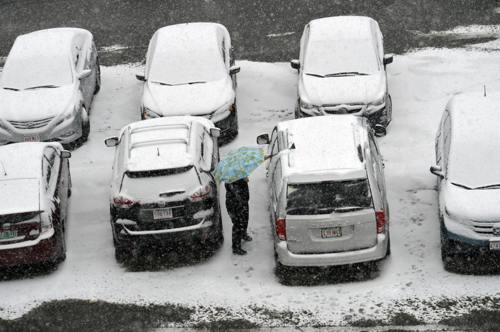 A parking lot in Pittsfield, Mass., on Monday. (Ben Garver/The Berkshire Eagle via AP)