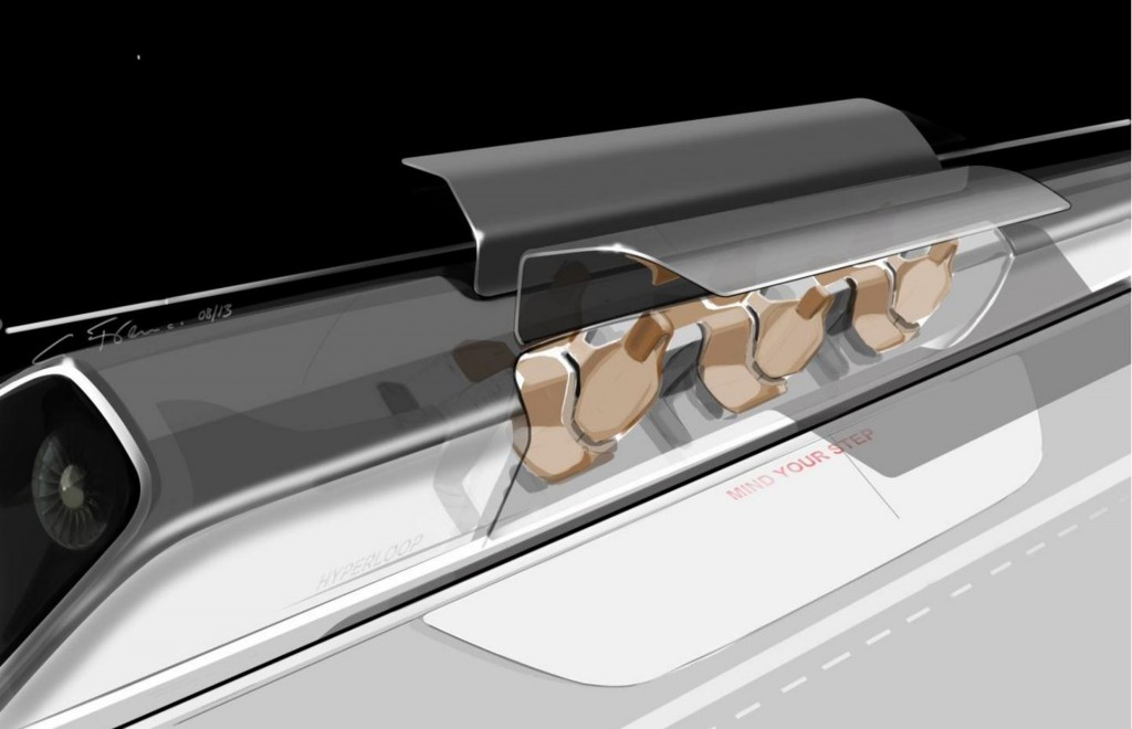 This conceptual design rendering provided by SpaceX shows a Hyperloop passenger transport capsule, at a station ready to take on passengers. (SpaceX via AP, File)