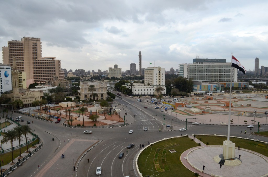 Cairo's central Tahrir Square, once epicenter of Egypt's protest movements, stands mostly empty of pedestrians and traffic on the fifth anniversary of the country's 2011 Arab Spring uprising, in Cairo, Egypt. (AP Photo/Brian Rohan)