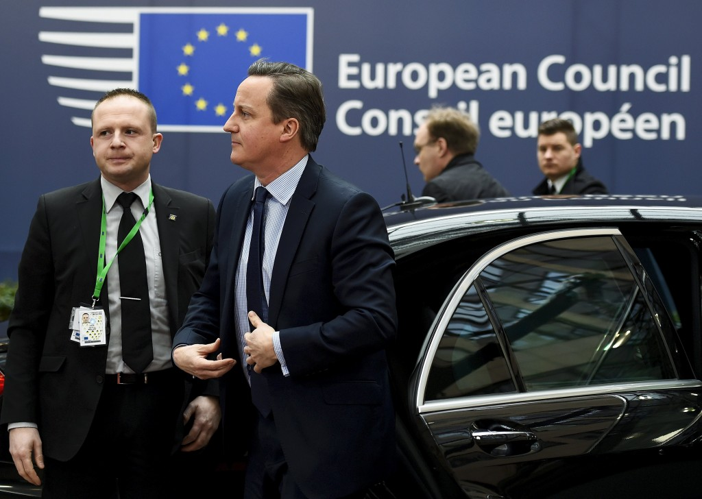 British Prime Minister David Cameron arrives for a European Union leaders summit addressing the talks about the so-called Brexit and the migrants crisis in Brussels, Belgium, February 18, 2016. REUTERS/Dylan Martinez