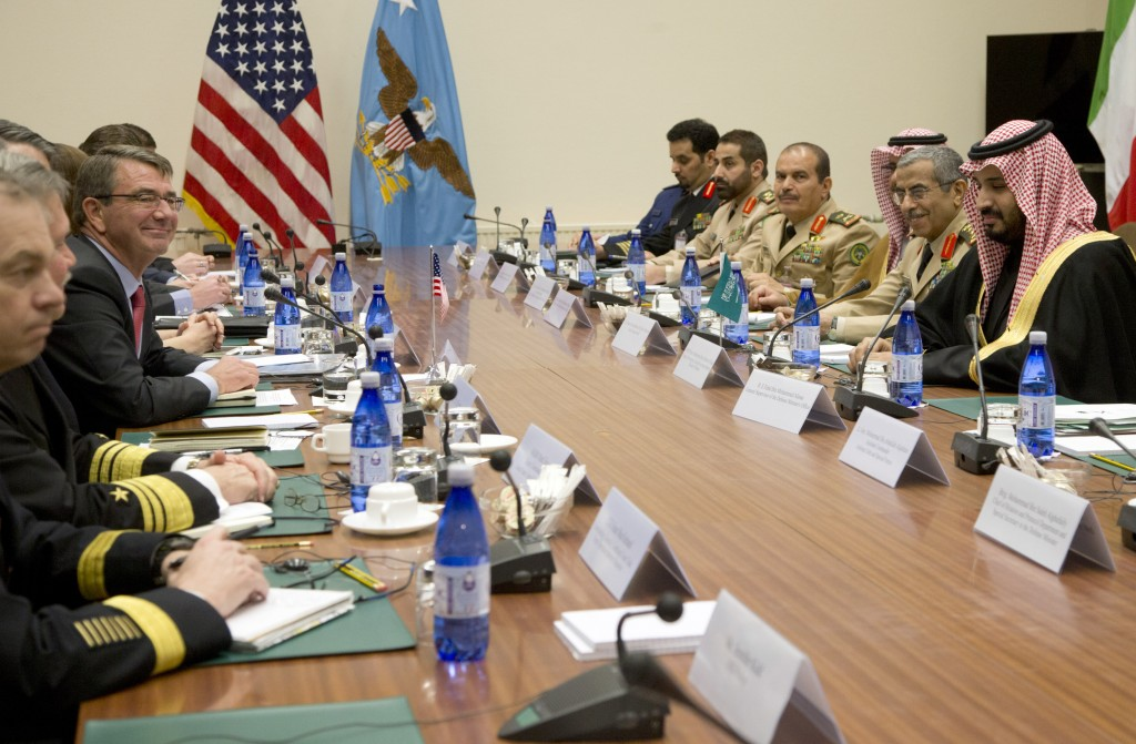 U.S. Secretary of Defense Ash Carter, fourth left, meets with Saudi Arabia's Defense Minister Mohammed bin Salman, right, on the sidelines of a NATO defense ministers meeting at NATO headquarters in Brussels on Thursday, Feb. 11, 2016. (AP Photo/Virginia Mayo, Pool)