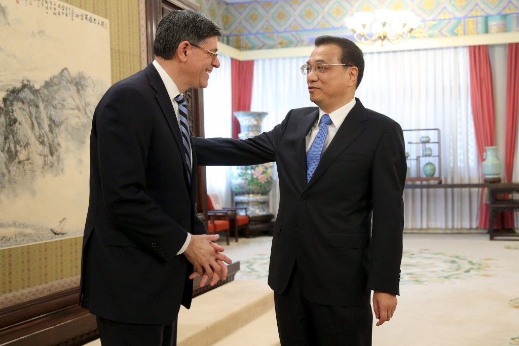 U.S. Treasury Secretary Jack Lew meets with Chinese Premier Li Keqiang (R) at the Zhongnanhai leadership compound in Beijing, China, February 29, 2016. REUTERS/Wu Hong/Pool