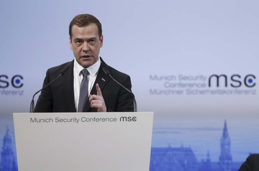 "Russian Prime Minister Dmitry Medvedev delivers a speech at the Munich Security Conference in Munich, Germany, February 13, 2016. Medvedev rejected accusations on Saturday that his country's forces have bombed civilians in Syria, saying this was ""just not true"". REUTERS/Dmitry Astakhov/Sputnik/Pool ATTENTION EDITORS - THIS IMAGE HAS BEEN SUPPLIED BY A THIRD PARTY. IT IS DISTRIBUTED, EXACTLY AS RECEIVED BY REUTERS, AS A SERVICE TO CLIENTS. TPX IMAGES OF THE DAY"