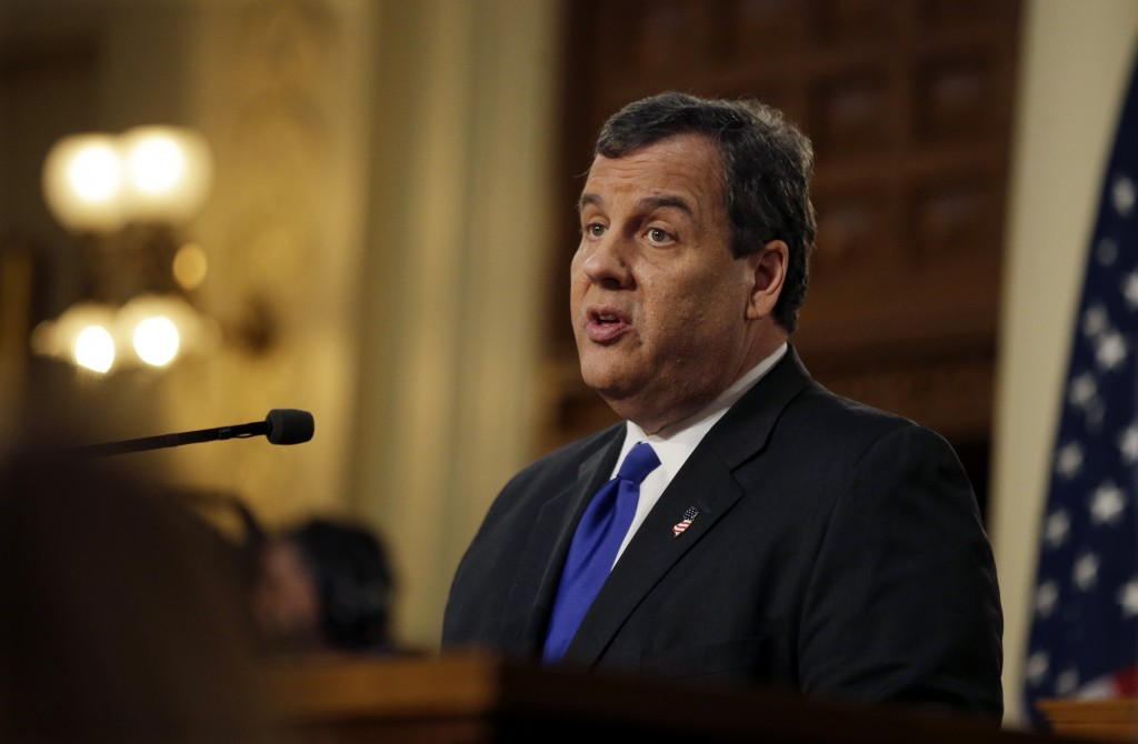 New Jersey Gov. Chris Christie delivers his budget at the Statehouse, Tuesday, Feb. 16, 2016. (AP Photo/Mel Evans)