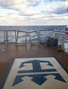 Damage to the deck of Royal Caribbean's ship Anthem of the Seas. (Flavio Cadegiani via AP)