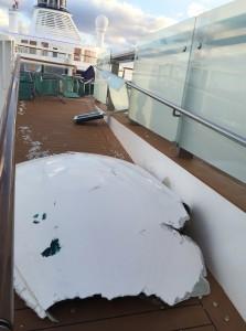 Storm damage to Royal Caribbean's ship Anthem of the Seas. (Flavio Cadegiani via AP)