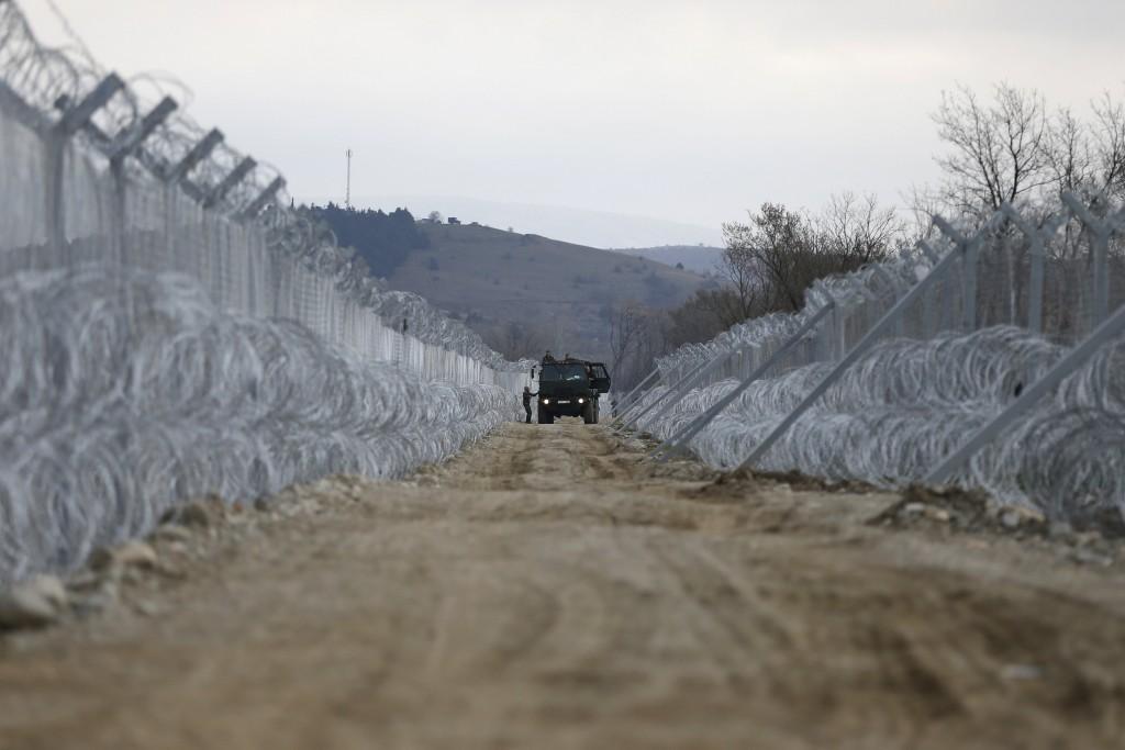 Macedonian police patrols at the Macedonian-Greek border in Gevgelija, Macedonia February 26, 2016. REUTERS/Marko Djurica
