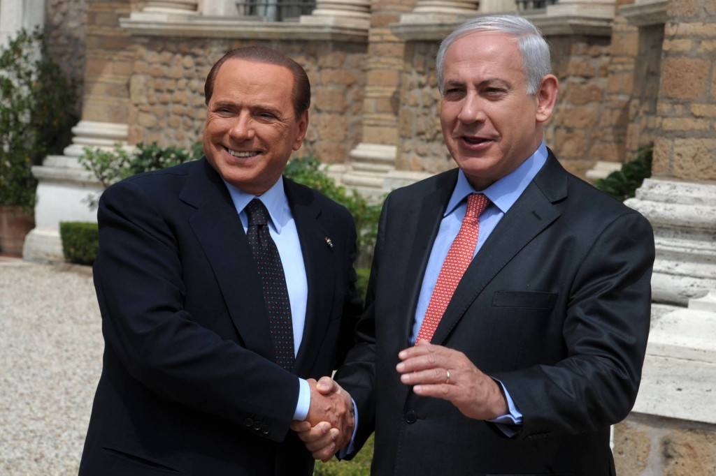 Prime Minister Benjamin Netanyahu (R) meets with Italian Prime Minister Silvio Berlusconi during Netanyahu's visit in Rome on June 13, 2011. Photo by Amos BenGershom / GPO/FLASH90