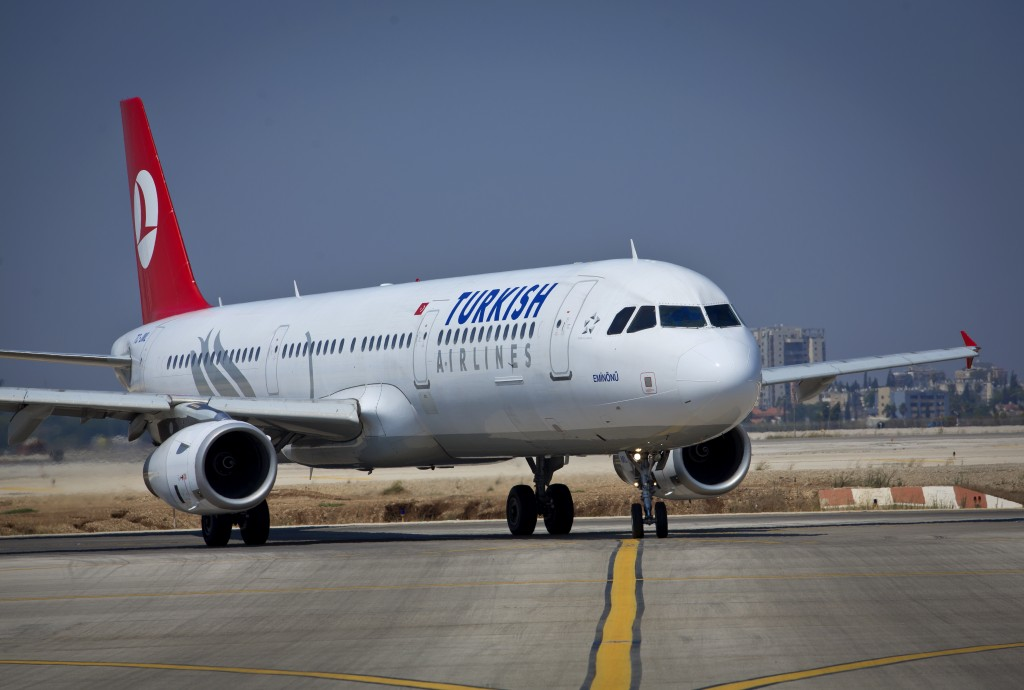"""View of a """"Turkish"""" flight, a Turkish airline, taking off from Ben Gurion International Airport. July 23, 2013. (Moshe Shai/FLASH90)"""