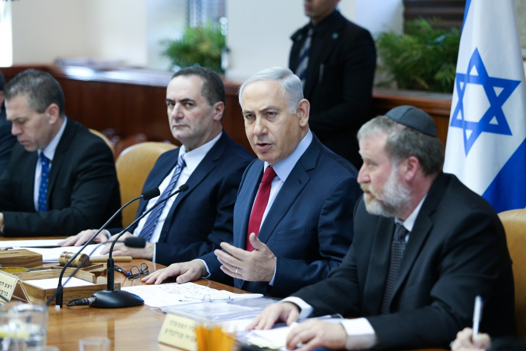 Israeli Prime Minister Benjamin Netanyahu leads the weekly government conference, at the Prime Minister's Office in Jerusalem, on January 17, 2016. (Amit Shabi/POOL)