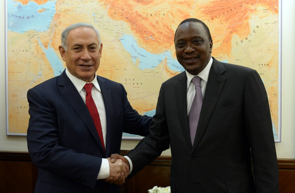 Prime Minister Binyjamin Netanyahu meets with Kenyan president Uhuru Kenyatta, February 23, 2016. Photo by Haim Zach/GPO