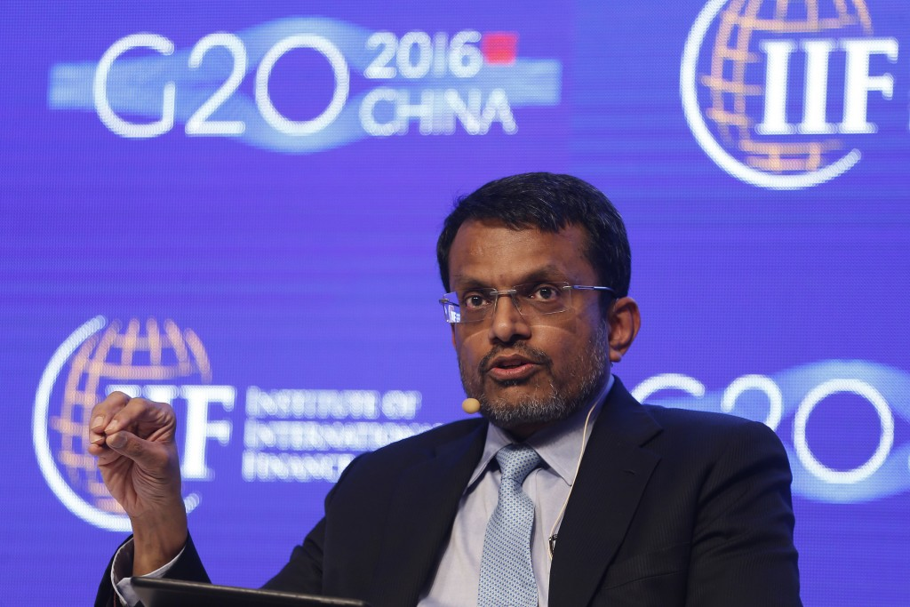 Ravi Menon, Managing Director of the Monetary Authority of Singapore, attends a conference during the 2016 IIF G20 Conference at the financial district of Pudong in Shanghai, China, February 25, 2016. REUTERS/Aly Song