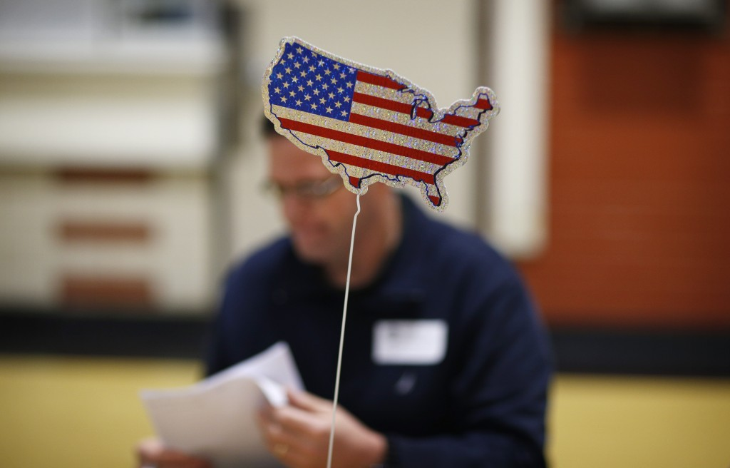 At a Republican Caucus site in Las Vegas. (AP Photo/John Locher)