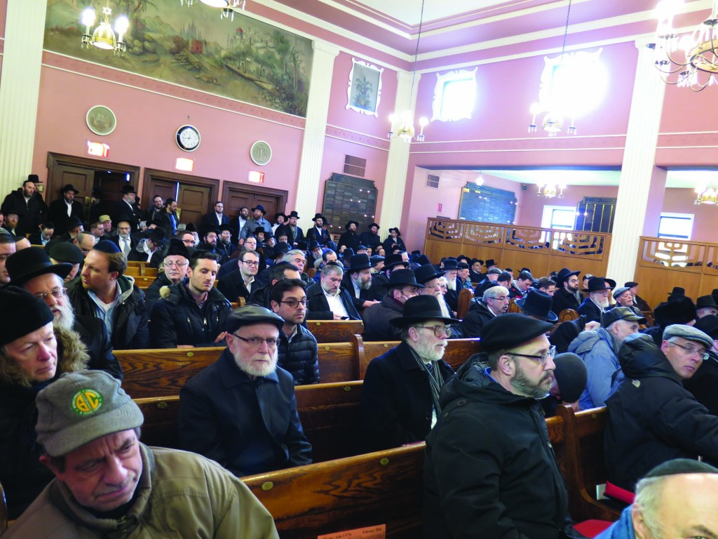 A partial view of the crowd at the levayah of Rabbi Gershon Tannenbaum at his shul, Khal Bnei Israel in the Linden Heights section of Brooklyn.