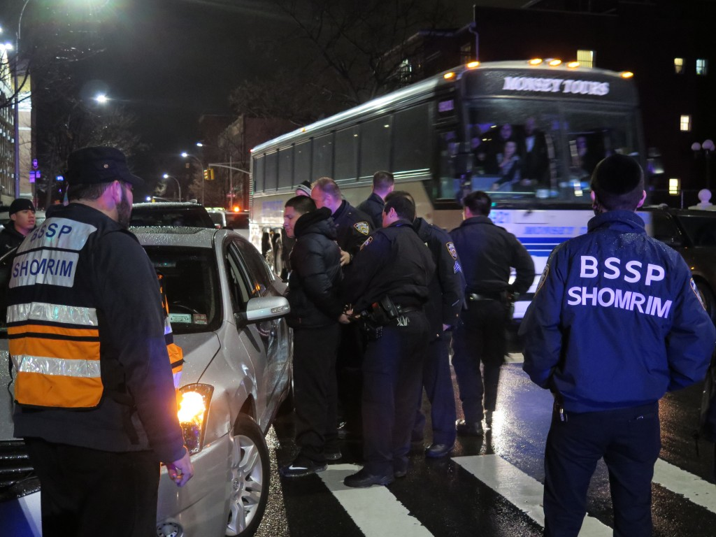 Accident tonight at 52nd St. and 14th Ave. in Boro Park. The Jewish driver of one of the cars involved was attacked and beaten by the other driver. Police on the scene arrested the driver for assault. The Jewish driver was taken to the hospital by Hatzalah, complaining of back pain. (ABB/JDN)