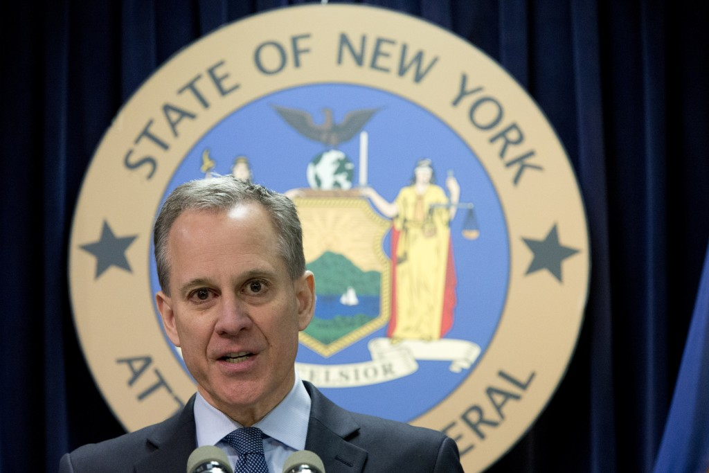 New York Attorney General Eric T. Schneiderman speaks during a news conference in New York. (AP Photo/Mary Altaffer, File)
