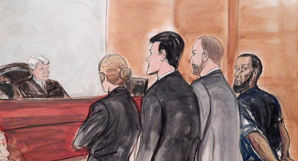 In this March 18, 2015 file courtroom sketch, Tairod Nathan Webster Pugh, right, a U.S. Air Force veteran and former airplane mechanic charged with attempting to join the Islamic State group in Syria, is arraigned before Judge Nicholas Garaufis, left, in a federal courthouse in Brooklyn. (AP Photo/Elizabeth Williams, File)
